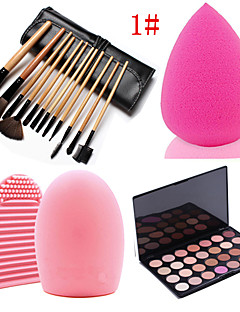 4in1 12PCS Cosmetic Makeup Brush Set &28 Colors Eyeshadow Neutral Matt Palette&Sponge Powder Puff&&Cleaning Tool Glove