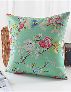fleurs d'été tendance coton / lin taie d'oreiller décoratif