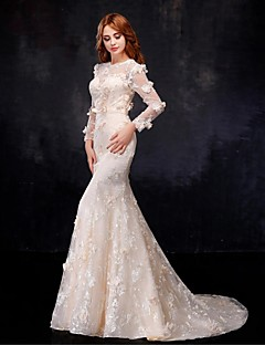 Trumpet / Mermaid Wedding Dress Wedding Dresses in Color Floor-length Jewel Organza / Satin with