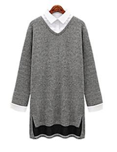 Women's Patchwork Gray T-shirt , Round Neck Long SleevePlus size