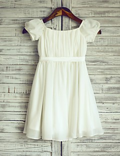 Sheath / Column Knee-length Flower Girl Dress - Chiffon / Satin Short Sleeve Bateau with
