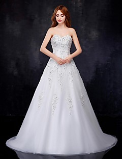 A-line Wedding Dress - White Court Train Sweetheart Organza