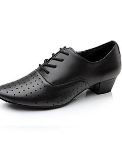 Chaussures de danse (Noir) - Non personnalisable - Gros talon - Cuir - Danse latine