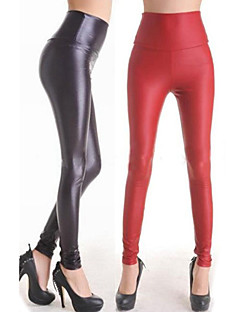 Tight Flat Waist PU Leather Pants Female Uniforms