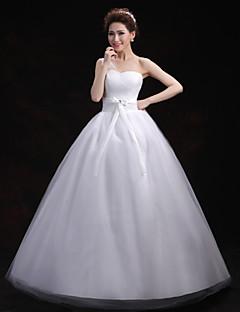 Ball Gown Wedding Dress - White Floor-length One Shoulder Tulle