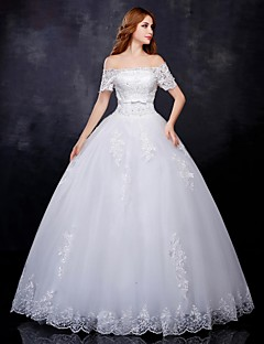 Ball Gown Wedding Dress - White Floor-length Off-the-shoulder Organza