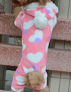 Cat / Dog Hoodie / Pants Pink Dog Clothes Winter Hearts Wedding / Cosplay