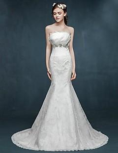 Trumpet/Mermaid Wedding Dress - Ivory Sweep/Brush Train Scalloped-Edge Lace