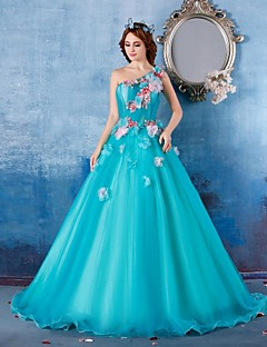 Formal Evening Dress - Sky Blue Ball Gown One Shoulder Floor-length Satin