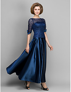 A-line Mother of the Bride Dress - Dark Navy Ankle-length Half Sleeve Satin