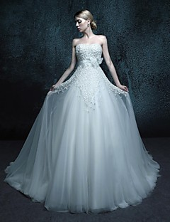 A-line Chapel Train Wedding Dress - Strapless Tulle