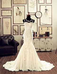 Trumpet/Mermaid Wedding Dress - Champagne Chapel Train Jewel Lace