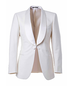 Suits Tailored Fit Shawl Collar Single Breasted One-button Wool & Polyester Blended Solid 2 Pieces White Straight Piped None (Flat Front)