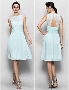 Knee-length Chiffon Bridesmaid Dress - Sky Blue Sheath/Column