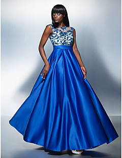 TS Couture Formal Evening Dress - Royal Blue Plus Sizes / Petite A-line Jewel Floor-length Tulle / Charmeuse