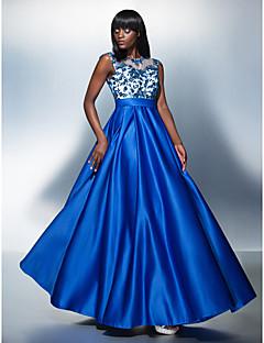 저녁 정장파티 드레스 - 로얄 블루 A라인 바닥 길이 보석 명주그물/엘라스틱 실크같은 사틴