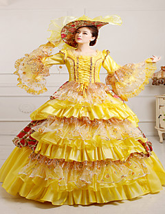 One-Piece/Dress Gothic Lolita Steampunk® Victorian Cosplay Lolita Dress Yellow Vintage Long Sleeves Long Length Hat For Lace Satin FRP