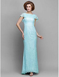 Sheath/Column Mother of the Bride Dress - Sky Blue Sweep/Brush Train Sleeveless Lace