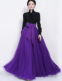 Women's Solid Blue / Red / Black / Green / Purple / Almond Skirts , Casual Maxi