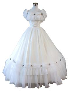 Uma-Peça/Vestidos Gótica Steampunk® Cosplay Vestidos Lolita Branco Cor Única Sem Mangas Comprimento Longo Vestido Para FemininoOrganza /