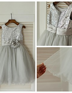 A-line Knee-length Flower Girl Dress - Tulle / Sequined Sleeveless Scoop with
