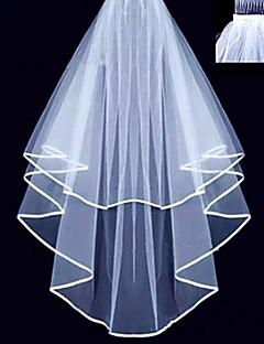 Two-tier - Ribbon Edge - Mantilla - Fingertip Veils ( White / Ivory , Ribbon )