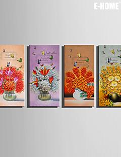 e-FOYER toile tendue art fleurs et de papillons de peinture de décoration ensemble de 4