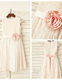 Sheath/Column Knee-length Flower Girl Dress - Lace Short Sleeve