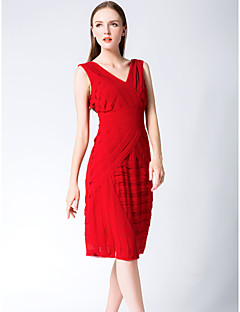 Cocktail Party Dress - Ruby Sheath/Column V-neck Knee-length Chiffon