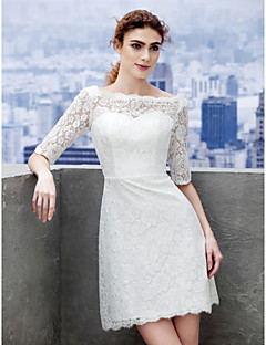 Vestido de Noiva - Marfim Justo Canoa Curto/Mini Renda