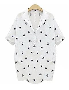 婦人向け カジュアル/普段着 秋 シャツ,シンプル シャツカラー プリント ホワイト コットン 半袖