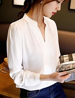 Enfärgad Långärmad Skjorta Kvinnors V-hals Bommulsblandning
