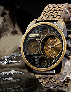 Oulm 男性 軍用腕時計 リストウォッチ 2タイムゾーン クォーツ 日本産クォーツ ステンレス バンド ラグジュアリー ブラック ブロンズ ローズゴールド