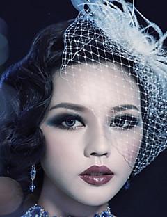 Women's Feather Tulle Headpiece Birdcage Veils
