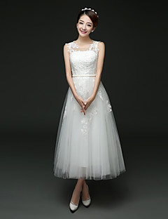 A-line Wedding Dress - White Tea-length Jewel Tulle