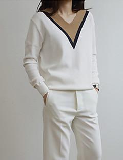Dame Vintage Normal Pullover Patchwork,Hvid V-hals Langærmet Bomuld Hør Andet Efterår Tynd Elastisk