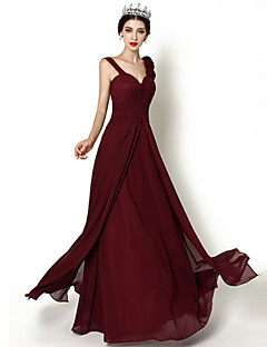 Floor-length Chiffon Bridesmaid Dress - Burgundy A-line Straps