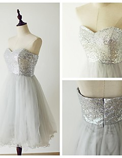 Knee-length Tulle / Sequined Bridesmaid Dress - Silver A-line Sweetheart