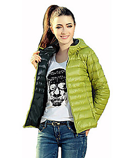 Women's Short Padded Coat,Simple Active Going out Casual/Daily Solid Long Sleeve Red Brown Green