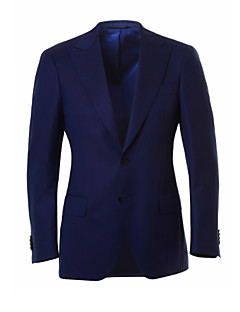Suits Tailored Fit Peak Single Breasted Two-buttons Wool Stripes 2 Pieces Blue Straight Flapped None (Flat Front) Blue None (Flat Front)