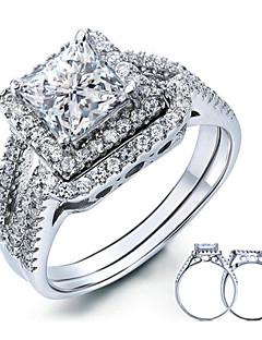 Homme Femme Couple de Bagues Elegant Argent sterling Zircon Plume Formé Carrée Bijoux Pour Mariage Soirée Quotidien Décontracté