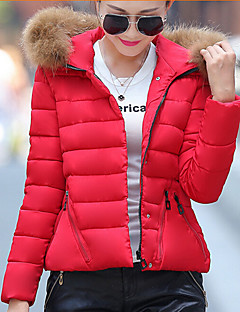Women's Solid Blue / Red / Green Parka Coat , Casual Hooded Long Sleeve