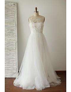 A-라인 웨딩 드레스 스윕 / 브러쉬 트레인 쥬얼리 레이스 / 튤 와 버튼 / 자수 장식