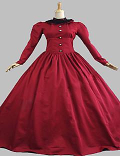 Badpak/Jurken Gothic Steampunk® Cosplay Lolita Jurken Rood Effen Lange Mouw Lange Lengte Kleding Voor DamesKatoen / Kant / Textiel