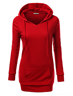 Women's Solid Red / Purple / Gray Hoodies , Casual Round Neck Long Sleeve