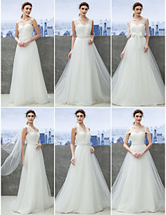Lanting Mix&Match Convertible Dress Sweep/Brush Train Tulle Sheath/Column Wedding Dress (1539445)