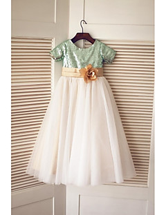A-line Floor-length Flower Girl Dress - Tulle / Sequined Short Sleeve Jewel with