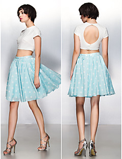 Cocktail Party Prom Dress - Two Pieces Beautiful Back A-line Jewel Knee-length Jersey with Pattern / Print