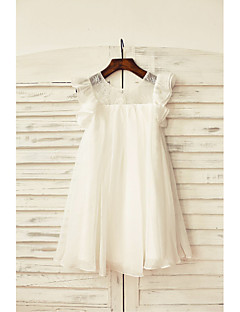 Sheath / Column Knee-length Flower Girl Dress - Chiffon / Lace Short Sleeve Scoop with