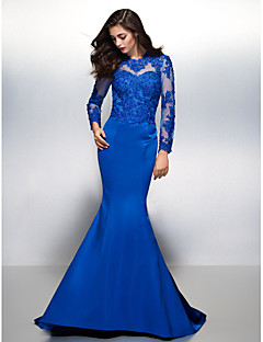 TS Couture® Formal Evening Dress - Beautiful Back Trumpet / Mermaid Jewel Court Train Lace / Satin with Lace